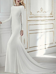 cheap -Sheath / Column Wedding Dresses Jewel Neck Court Train Chiffon Long Sleeve with Beading Appliques 2020