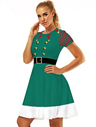 cheap -Women's Elegant A Line Dress - Geometric White Red Green S M L XL