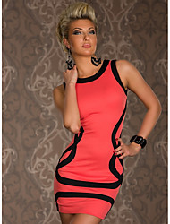 cheap -Women's Bodycon Dress - Color Block Black White Blushing Pink M XXL