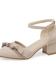cheap -Women's Heels Chunky Heel Pointed Toe PU Classic / British Summer Black / Yellow / Beige / Party & Evening