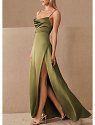 cheap -A-Line Spaghetti Strap Floor Length Satin Bridesmaid Dress with Split Front / Ruching / Open Back