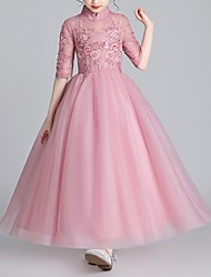cheap -Ball Gown Floor Length Flower Girl Dress - Polyester Half Sleeve High Neck with Beading / Appliques / Bow(s)