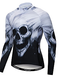 cheap -21Grams Skull Men's Long Sleeve Cycling Jersey - Black / White Bike Jersey Top Breathable Moisture Wicking Quick Dry Sports Winter Fleece Polyester Elastane Mountain Bike MTB Road Bike Cycling