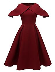 cheap -A-Line Jewel Neck Tea Length Jersey Dress with Pleats by LAN TING Express
