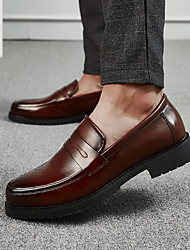 cheap -Men's Formal Shoes PU Spring & Summer / Fall & Winter Casual / British Loafers & Slip-Ons Black / Brown