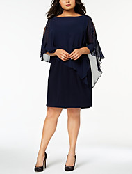 cheap -Sheath / Column Jewel Neck Knee Length Chiffon Half Sleeve Plus Size Mother of the Bride Dress with Beading 2020