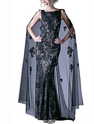 cheap -Mermaid / Trumpet Boat Neck Sweep / Brush Train Lace / Tulle Luxurious / Black Engagement / Formal Evening Dress with Appliques / Lace Insert 2020