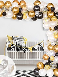cheap -Balloon Arch & Garland Kit,  Black, White, Gold Confetti and Metal Latex Balloons with 1pcs Tying Tool, Balloon Strip Tape and Glue Dots for Wedding Birthday Graduation Decor