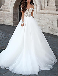 cheap -A-Line V Neck Sweep / Brush Train Tulle Short Sleeve Romantic See-Through / Backless / Illusion Sleeve Wedding Dresses with Appliques 2020