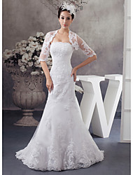 cheap -Mermaid / Trumpet Wedding Dresses Strapless Court Train Lace Satin Half Sleeve with Beading Appliques 2021
