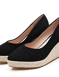 cheap -Women's Loafers & Slip-Ons Wedge Heel Round Toe Suede Winter Black / Yellow / Dark Blue / Daily