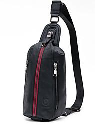 cheap -Men's Zipper Cowhide Sling Shoulder Bag Striped Black / Red