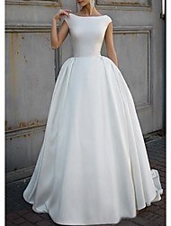 cheap -A-Line Bateau Neck Sweep / Brush Train Satin Short Sleeve Made-To-Measure Wedding Dresses with 2020