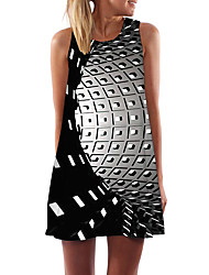 cheap -Women's Day Clutches Street Street chic Sheath Dress - Check Print Black XS S M L