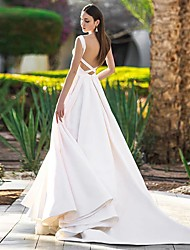 cheap -A-Line Wedding Dresses Bateau Neck Court Train Polyester Cap Sleeve Beautiful Back with 2021