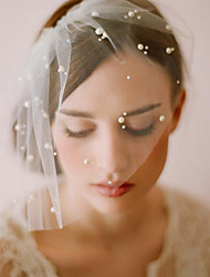 cheap -Two-tier Classic Style / Lace Wedding Veil Blusher Veils with Solid 23.62 in (60cm) POLY / Lace