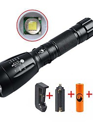 cheap -UltraFire LED Flashlights / Torch Waterproof Rechargeable 2200/1000 lm LED LED 1 Emitters 5 Mode with Battery and Chargers Waterproof Rechargeable Adjustable Focus Camping / Hiking / Caving Everyday
