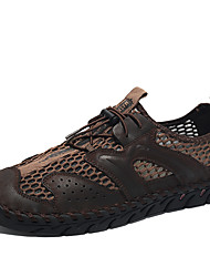 cheap -Men's Comfort Shoes Nappa Leather / Mesh Spring & Summer Casual Athletic Shoes Water Shoes Breathable Black / Brown