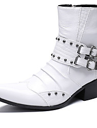 cheap -Men's Fashion Boots Nappa Leather Spring & Summer / Fall & Winter Casual / British Boots Warm Mid-Calf Boots White / Party & Evening