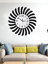 cheap -Fashionable Wood Wall Clock Metal Living Room Wall Clock Home Art Decoration AA Batteries Powered