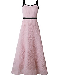cheap -A-Line Straps Ankle Length Polyester Bridesmaid Dress with Lace / Open Back