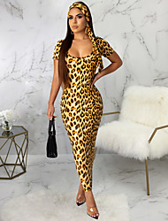 cheap -Women's Maxi Camel Khaki Dress Elegant Sophisticated Event / Party Daily Wear Bodycon Leopard Print S M Slim