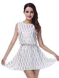 cheap -Women's Flapper Girl Latin Dance Flapper Dress Party Costume Flapper Costume Sequin Polyster Black White Almond Dress