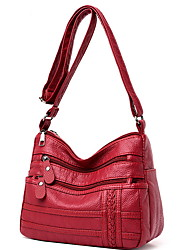 cheap -Women's Bags PU Leather Crossbody Bag Zipper Solid Color Daily Leather Bag MessengerBag Black Red