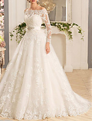 cheap -A-Line Wedding Dresses Off Shoulder Sweep / Brush Train Tulle Regular Straps Illusion Sleeve with Appliques 2020