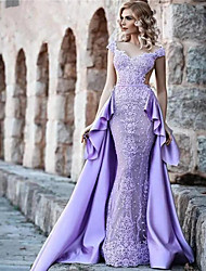 cheap -A-Line V Neck Court Train Lace / Satin Luxurious / Purple Prom / Formal Evening Dress with Appliques / Lace Insert / Overskirt 2020
