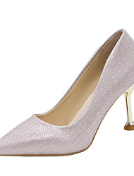 cheap -Women's Heels Stiletto Heel Pointed Toe Rivet Satin Casual / Minimalism Spring &  Fall / Spring & Summer Pink / Silver / Wedding