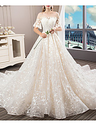 cheap -A-Line Bateau Neck Court Train Polyester Short Sleeve Illusion Sleeve Wedding Dresses with Appliques 2020