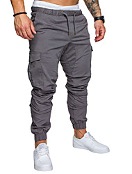 cheap -Men's Sporty Streetwear Cotton Loose Jogger Tactical Cargo Pants Solid Colored Full Length Drawstring Black Army Green Light gray