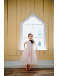 cheap -Ball Gown Tea Length Flower Girl Dress - Lace / Satin Cap Sleeve Jewel Neck with Appliques / Buttons / Belt