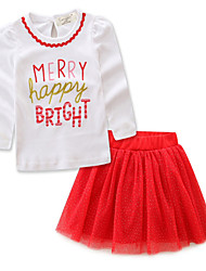 cheap -Kids Girls' Basic Solid Colored Long Sleeve Clothing Set Red