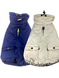 baratos -Cachorros Camisola com Capuz Colete Inverno Roupas para Cães Branco Azul Ocasiões Especiais Algodão Sólido Fantasias XS S M L XL