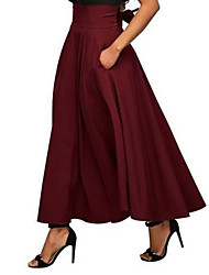cheap -Women's Daily / Going out Asymmetrical Swing Skirts - Solid Colored High Waist Black Wine Green S M L / Loose