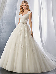 cheap -Ball Gown Wedding Dresses Sweetheart Neckline Chapel Train Lace Tulle Regular Straps with Appliques 2021