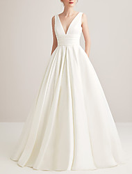 cheap -A-Line Wedding Dresses V Neck Court Train Satin Regular Straps with Ruched 2021