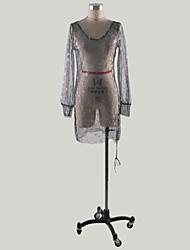 cheap -Women's Sheath Dress - Long Sleeve Sequins Deep V Party Homecoming Slim Black S M L XL