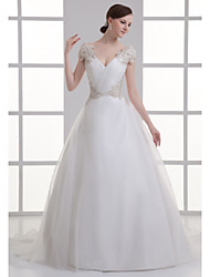 cheap -A-Line V Neck Court Train Organza / Satin Regular Straps Plus Size Made-To-Measure Wedding Dresses with Beading / Ruched 2020