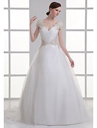 abordables -Trapèze Col en V Traîne Tribunal Organza / Satin Bretelles Classiques Grandes Tailles Robes de mariée sur mesure avec Billes / Ruché 2020