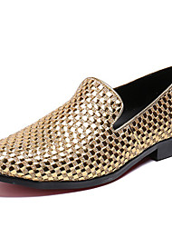 cheap -Men's Novelty Shoes Nappa Leather Spring & Summer / Fall & Winter Classic / British Loafers & Slip-Ons Non-slipping Gold / Party & Evening