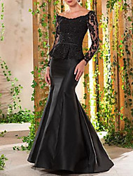 cheap -Mermaid / Trumpet Scoop Neck Sweep / Brush Train Lace / Satin Elegant Formal Evening Dress with Sequin / Lace Insert 2020