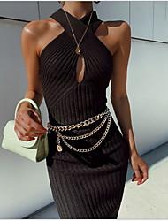 cheap -Women's Slim Sheath Dress - Solid Colored V Neck Black White S M L