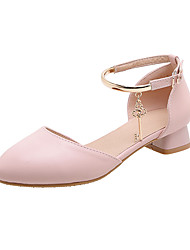 cheap -Women's Heels Low Heel Round Toe PU Casual / Minimalism Spring & Summer White / Pink / Beige