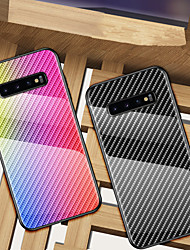 cheap -Carbon Fiber Gradient Tempered Glass Phone Case For Samsung Galaxy S11 Plus S11e S10 Plus S10e 5G S9 Plus S8 Plus Note 10 Plus Note 9 Note 8 Shockproof Back Cover Soft TPU edge Protection