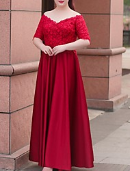 cheap -A-Line Off Shoulder Floor Length Polyester Bridesmaid Dress with Lace / Sash / Ribbon