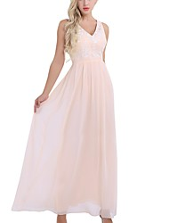 cheap -A-Line Plunging Neck Floor Length Chiffon Bridesmaid Dress with Embroidery / Pleats
