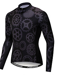 cheap -21Grams Novelty Gear Men's Long Sleeve Cycling Jersey - Black Bike Jersey Top UV Resistant Breathable Moisture Wicking Sports Winter Fleece Polyester Elastane Mountain Bike MTB Road Bike Cycling